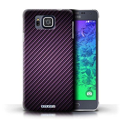 Kobalt® Imprimé Etui / Coque pour Samsung Galaxy Alpha / Or conception / Série Motif de Fibre de Carbone Pourpre