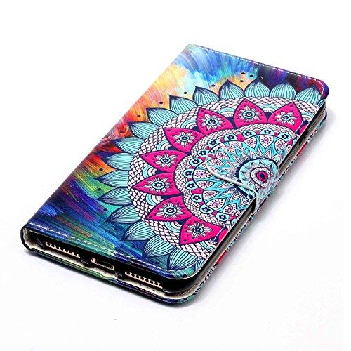Sunroyal Flip Handyhülle für iPhone 7 Plus 5.5 zoll Diamant Lederhülle Bookstyle Tasche PU leder Hülle Bling Schutzhülle mit Standfunktion Magnetverschluss und Kartenfächern ID Card Handytasche Multif Mandala