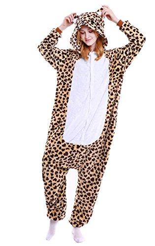 LazLake Jumpsuit Tier Fasching Pyjama Kostüm Onesie Overall Schlafanzug Erwachsene Unisex Kigurumi Leopard S