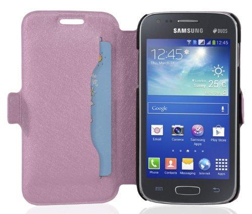 Cadorabo - Ultra Slim Book Style Hülle für Samsung Galaxy ACE 3 (GT-S7275) mit Kartenfach und Standfunktion - Etui Case Cover in ICY-ROSE