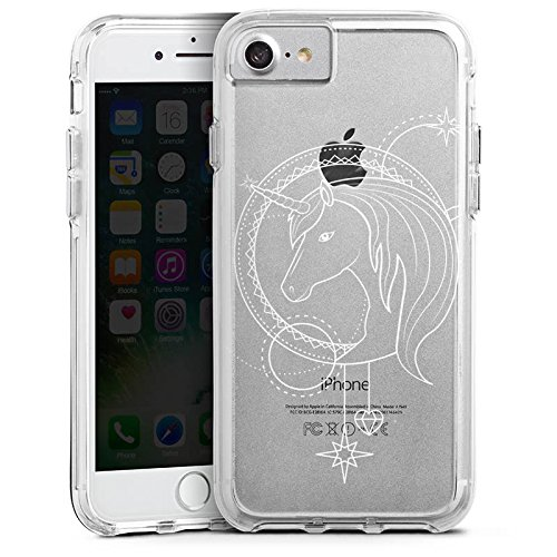 Apple iPhone 7 Plus Bumper Hülle Bumper Case Glitzer Hülle Transparent mit Motiv Einhorn Unicorns Bumper Case transparent