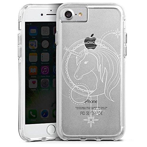 Apple iPhone 7 Plus Bumper Hülle Bumper Case Glitzer Hülle Transparent mit Motiv Einhorn Unicorns Bumper Case transparent