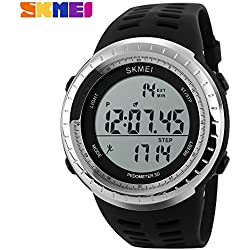 3D pedometer sports watch LED display quality Japanese electronic movement 50 meters waterproof wristwatch(Black)