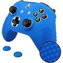 Pandaren® STUDDED peau de Housses Coque silicone anti-dérapant pour Xbox One S Manette x 1 (bleu) + thumb grip poignées x 2