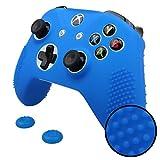 Pandaren STUDDED peau de Housses Coque silicone anti-dérapant pour Xbox One S, Xbox One X Manette x 1 (bleu) + thumb grip poignées x 2