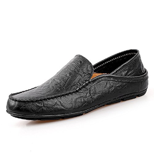 Joyto uomo mocassini in pelle casual eleganti slip on scarpe da guida barca nero 42