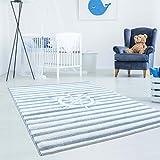carpet city Kinderteppich Hochwertig mit Maritimen Muster, Schiff-Lenkrad, Gestreift in Blau-Weiß mit Konturenschnitt, Glanzgarn für Kinderzimmer Größe 120/120 cm Rund