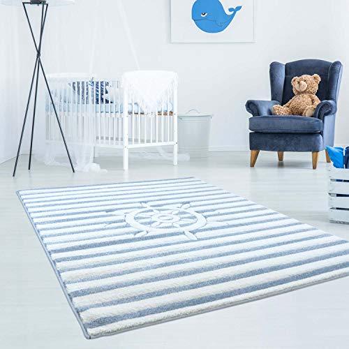 carpet city Kinderteppich Bueno Maritim Schiff Lenkrad Streifen mit Konturenschnitt, Glanzgarn Kinderzimmer; Größe: 80x150 cm