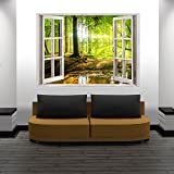 murando® 3D WANDILLUSION 140x100 cm Wandbild Fototapete Poster XXL Fensterblick Vlies Leinwand Panorama Bilder Dekoration Meer Strand Dünen