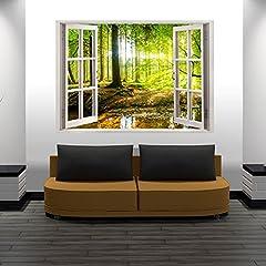 Idea Regalo - murando - 3D ILLUSIONE OTTICA   210x150 cm 3D ILLUSIONE OTTICA   Carta da parati sulla fliselina   Hit   Carta da parati in TNT   Quadri murali   Fotomurale   Finestra Bosco Natura