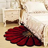 Maa Creation Half Round Sunflower Area Rug Mats for Bedroom Living Room Round Mats Computer Chair Mat (Maroon)