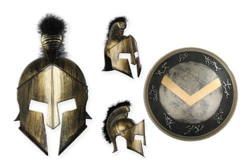 Kostüm Halloween Für Ideen Preiswert (Premium Spartaner-Zubehör für Herren-Kostüm Helm und Schild| für Hochwertiges Karnevals-Kostüm / Faschings-Kostüm / Männerkostüm | Perfektes Sparta Kostümzubehör für Karneval, Fasching,)