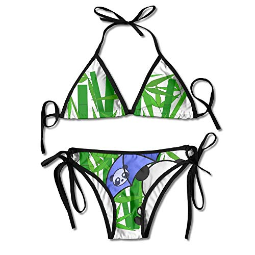 Bamboo Tree Panda Unbrella Women's Tie Side Bottom Bikini Suits Two Pieces Swimwear -