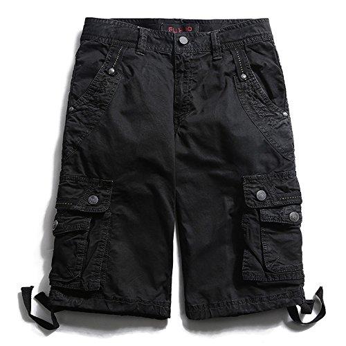 WDDGPZDK Strand Shorts/Style Sommer Multi-Tasche Camouflage Mens Shorts Lässige Lose Knielangen Mens Cargo Shorts Männliche Hälfte Kurze Hose, Schwarz, 29.