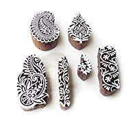 Asian Leaf and Paisley Designs Wooden Block Stamps (Set of 6)