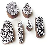 Royal Kraft Asian Leaf and Paisley Designs Wood Block Stamps (Set of 6)