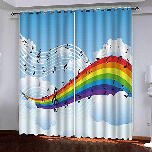 Rjyhjl tenda oscurante con occhielli nota musicale arcobaleno dei cartoni animati bambini balcone cameretta da letto tenda finestra esterno termica isolante terrazzo soggiorno 2 x l140 x a175 cm