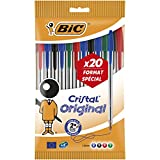 BIC Cristal Original Stylos-Bille - Couleurs Assorties, Pochette de 15+5