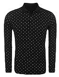 Kisshes Herren Poloshirt Baumwolle Slim Fit Langarmshirt Polka Dots Polo Shirt Casual Punkt Polohemd Pullover Sweatshirt mit Knopfleiste Schwarz Weiss Grau