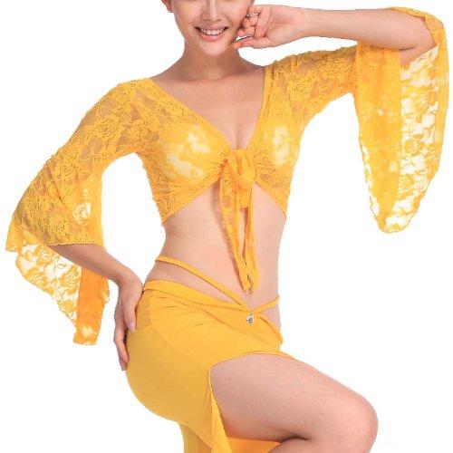H:oter exquisite Bauchtanz eleganten Spitzenabschluss, Bauchtanz Kost¨¹m, Preis / St¨¹ck - Yellow -