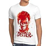 style3 Dexter reguero de sangre Camiseta para hombre T-Shirt erie asesinato morgan, Talla:2XL;Color:Blanco