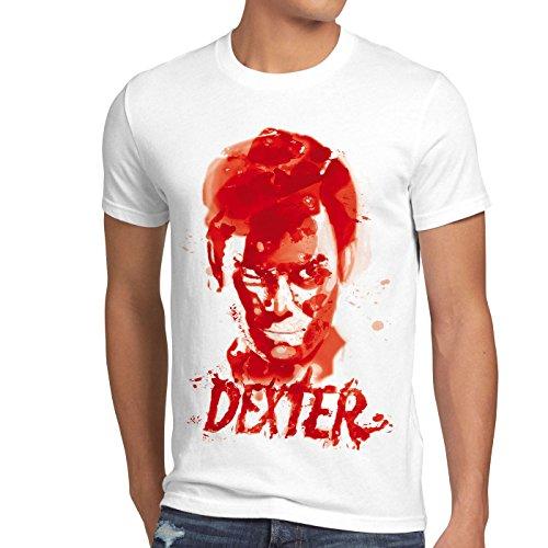 Style3 dexter traccia di sangue t-shirt da uomo serie assassinio morgan trinity serial killer, dimensione:l;colore:bianco