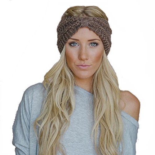 Butterme Frau Lady Mädchen Fashion Crochet Bogen Turban Strick Gestricktes Stirnband headwrap Winter Ear wärmer Haar Bande Khaki