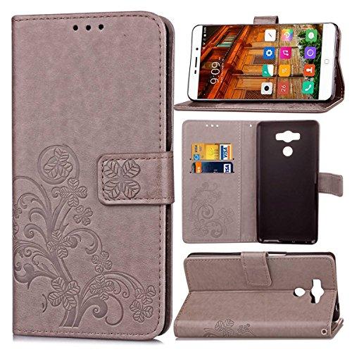 Guran® PU Ledertasche Case für Elephone P9000 Smartphone Flip Cover Brieftasche & Stent Funktionen Hülle Glücksklee Muster Design Schutzhülle - Grau