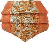 Rosas flores de color naranja mesa de mantel de lino camino de mesa corredor seda tailandesa Elegante 200 cm de largo x 30 cm