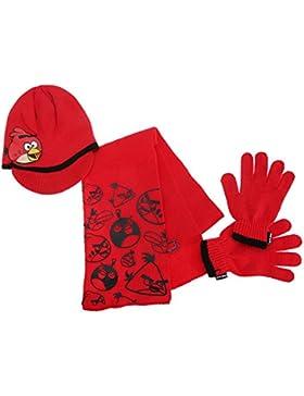 Angry Birds - Conjunto de bufanda, guantes y gorro de punto de Angry Birds para niños