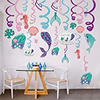 SaYaLa 30Pcs the Ocean World,Under the Sea Swirl Decorations/Purple Teal Party Supplies & Party Decorations for Girls/Ceiling Streamers,Hanging Whirls for Kids