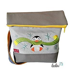 Foldover Tasche Pinguin Stickerei handmade Foldovertasche mit Außenfach