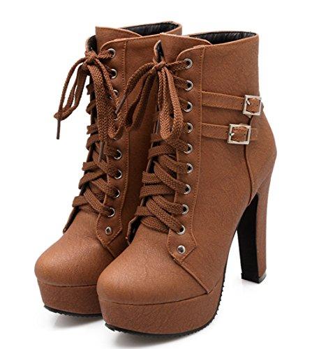 Bloco Pele Salto Da Salto Eixo Fivela Ankle Senhoras Boots Botas Planalto Ankle De Alto Ó Atando Sapatos E Curto Boots Inverno Marrom Do Outono Escuro Quente Com RA8q1n