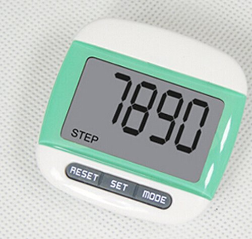 Liroyal New Multi-function Pedometer Distance Calorie Counter 5 Steps Buffer Error Correction Large LCD Display with Belt,Green