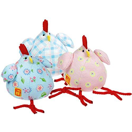 STEINBECK Hühner Set 3 Stück 8 cm Ostern Huhn Stoffhuhn Geschenk Osternest Ostergeschenk Tischdeko