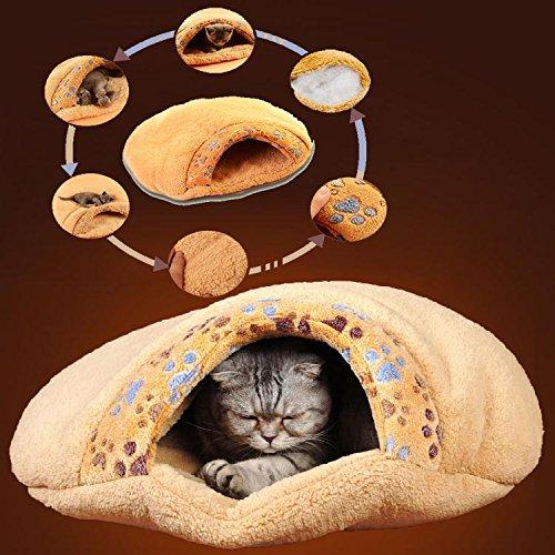 Pecute weiche warme Katzenhöhle Katzebett Schlaftasche Hundebett Haus-Welpen Schlafen Mat Schlafsack kurze Plüsch Braun - 5