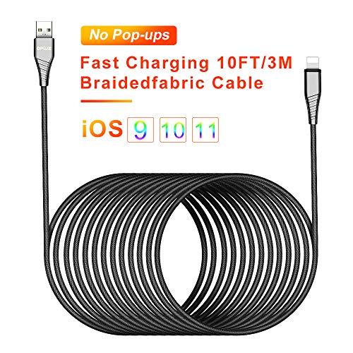10ft/3M Phone Ladekabel Lang Nylon Geflochten USB Phone Kabel Powerline charger cable charging cord CE Zertifiziert Kompatibel mit PhoneXS/X/ 8/8 Plus/ 7/7 Plus/ 6S/ 6/ 5S/ 5C/ SE/ 5,Pad Mini/Air - Iphone 5s-geflochten-ladegerät Ft 10