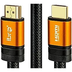 IBRA 3M Orange Câble HDMI Câble très Haute Vitesse 18 GB/s HDMI 2.0b Supporte 4K@60Hz, Fire Fire,Ethernet,Retour Audio,Vidéo UHD 2160p,HD 1080p,3D,Playstation PS3 PS4 Ordinateur Personnel