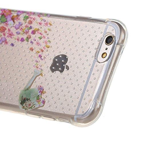 iPhone 6 Hülle,iPhone 6S Tasche - Felfy Ultra Slim Weicher Gel Flexible TPU Case Schutzhülle Silikon Crystal Case Durchsichtig Muster Giraffe Plum Blume Tiger Transparent Silikon Ultradünnen Kratzfest Blütenfarbe