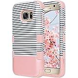 Galaxy S7 caso, ULAK S7 Funda Carcasa de lujo de híbrido de 3 capas de silicona Shell duro caso de la cubierta de la galaxy S7 (rayas mínimas - oro rosa)