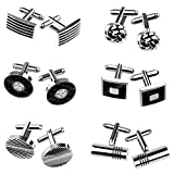TUPARKA Cufflinks for Men, Fashionable Retro Striped Cuff Links Classic Tie Clips for Suit Shirt Wedding Business Graduation Gift