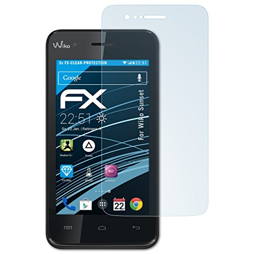 atFolix Schutzfolie kompatibel mit Wiko Sunset Folie, ultraklare FX Bildschirmschutzfolie (3X)