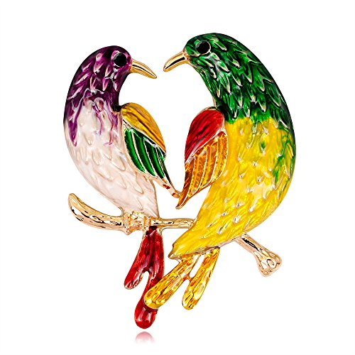 CAOLATOR Vogel Brooch Damen Brosche Retro Broschen Bunt Nadel Anstecker Anstecknadeln Schmuck mit Strassteinen für Kleidung/Schals/Tücher/Ponchos