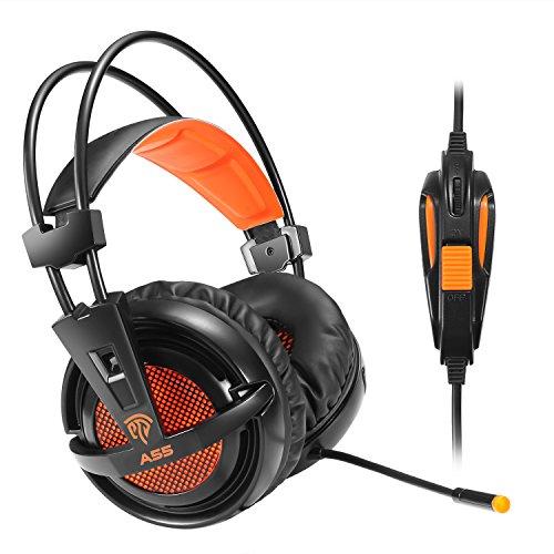 Foto de [Xbox One headset]EasySMX Auriculares Estéreo para PS4 y Nueva Xbox One con Cable de 3.5mm Jack, LED Indicador y Micrófono Ajustable y en Línea del Controlador de una Sola Tecla Silencio (Negro+Naranja)