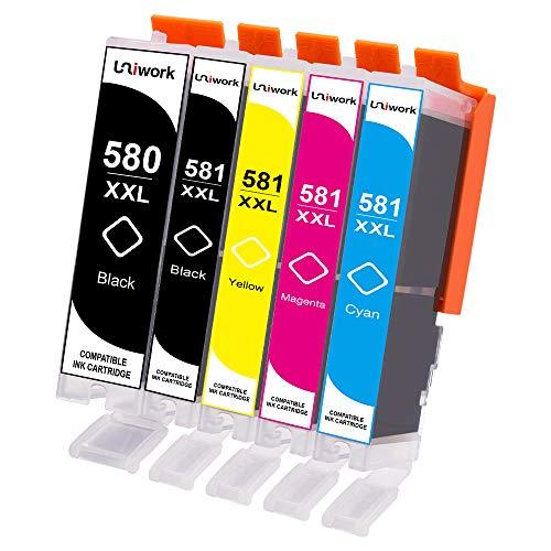 Uniwork Compatibile con Canon PGI-580 CLI-581 XXL Cartucce d'inchiostro per Canon PIXMA TR7550 TR8550 TS6150 TS6151 TS8150 TS8151 TS8152 TS9150 TS9155 (1 PGBK, 1 Nero, 1 Ciano, 1 Magenta, 1 Giallo)