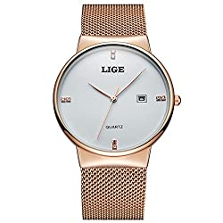 LIGE Mens Watches New luxury brand watch Men Fashion sports quartz-watch stainless steel mesh strap ultra thin dial date clock (Watch Only) - 9801 - Gold White