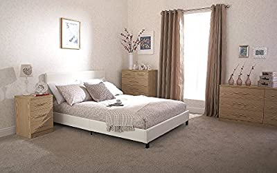 Home Source - Modern Low White Faux Leather Bedstead Bed Frame with Wooden Slats