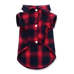 YuNo Hunde-Shirt, kariertes Hemd für Katzen und kleine Hunde, mit Polokragen, hochwertig, niedlich, schick, ideal für Halloween- und Weihnachtsoutfits