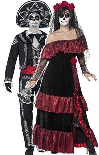 Paar Damen & Mens Tag Der Toten Volle Länge Skelett Zuckerschädel Halloween Kostüm Verkleidung Outfit - Schwarz, Ladies UK 12-14 & Mens Extra (Womens Tag Kostüme Toten Der)