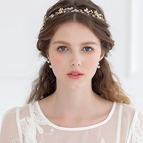 Bohemia Déesse Doré Couronne de fleurs Coiffe–Mariage Bandeau Strass Diadème
